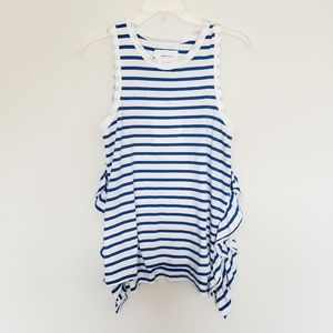 NWT Current/Elliot Blue /White Striped Ruffle Tank